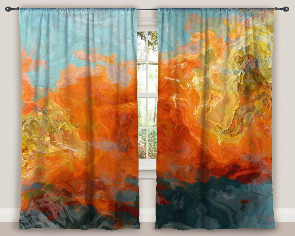 Housewares, window treatment, window curtain, curtain, rod pocket curtain, living room , bohemian curtain, Drapery , abstract art curtain, blackout curtains, bedroom curtains, curtain , room darkening drape, red orange drapes