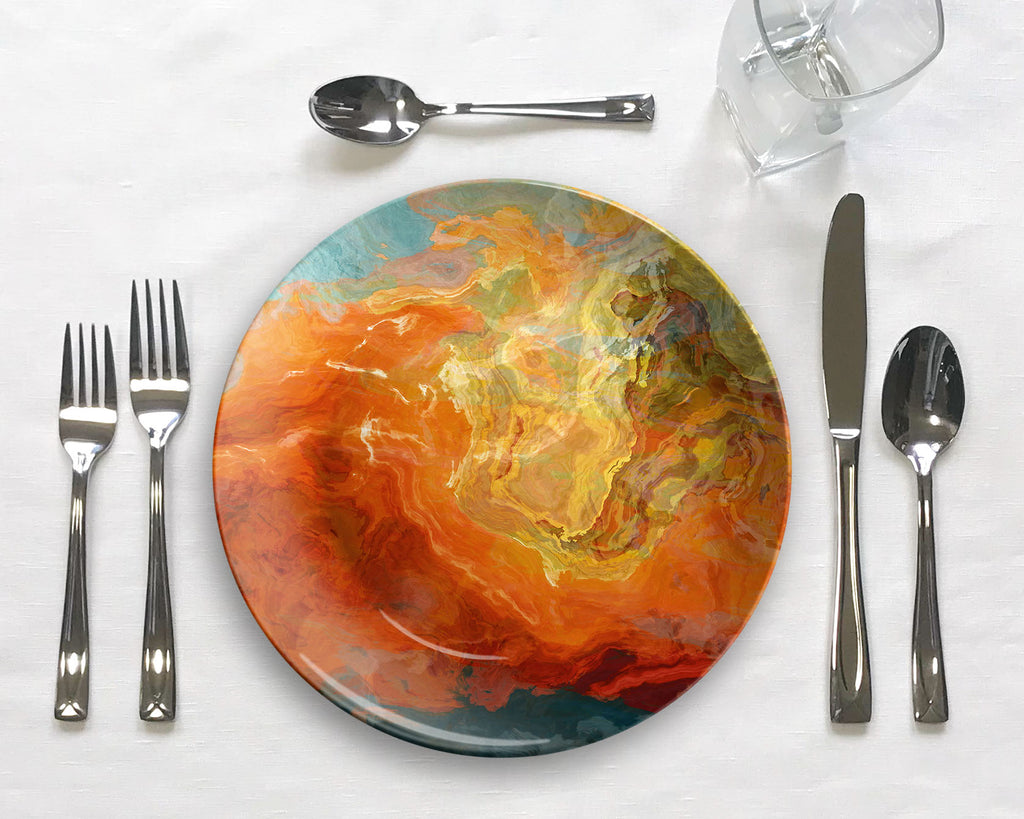 Abstract art outdoor dinnerware, microwave safe tableware