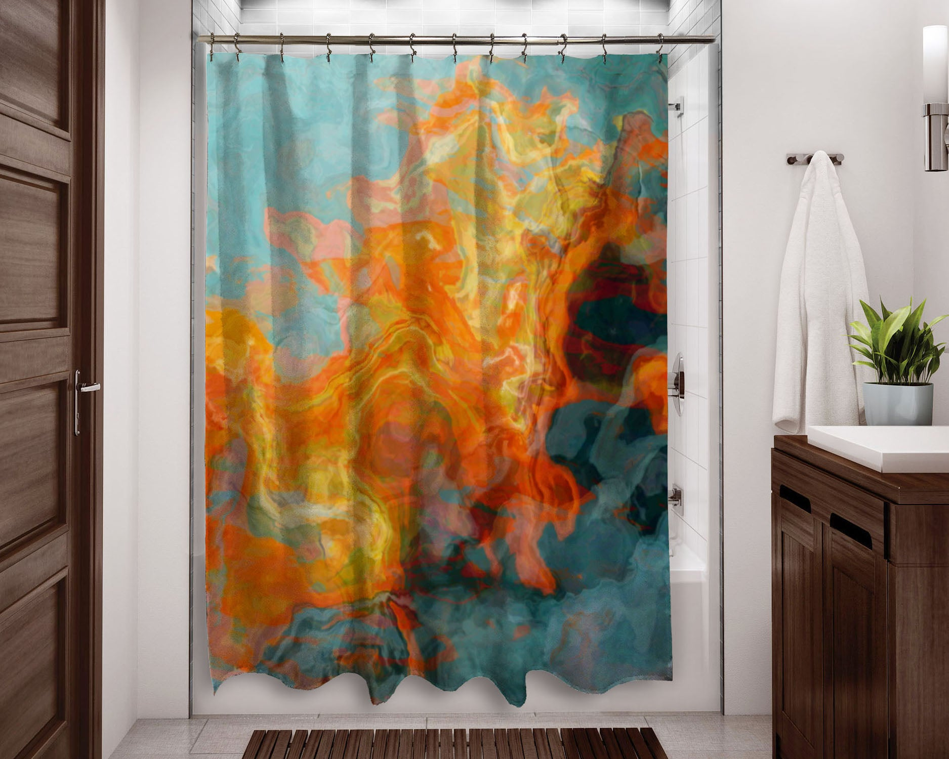 Shower Curtain, Fire And Water
