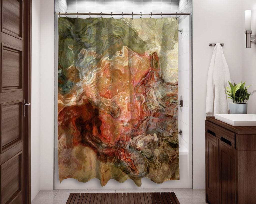 Abstract shower curtain contemporary bathroom