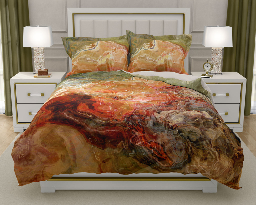Duvet Cover with abstract art, king or queen in rust, brown and olive