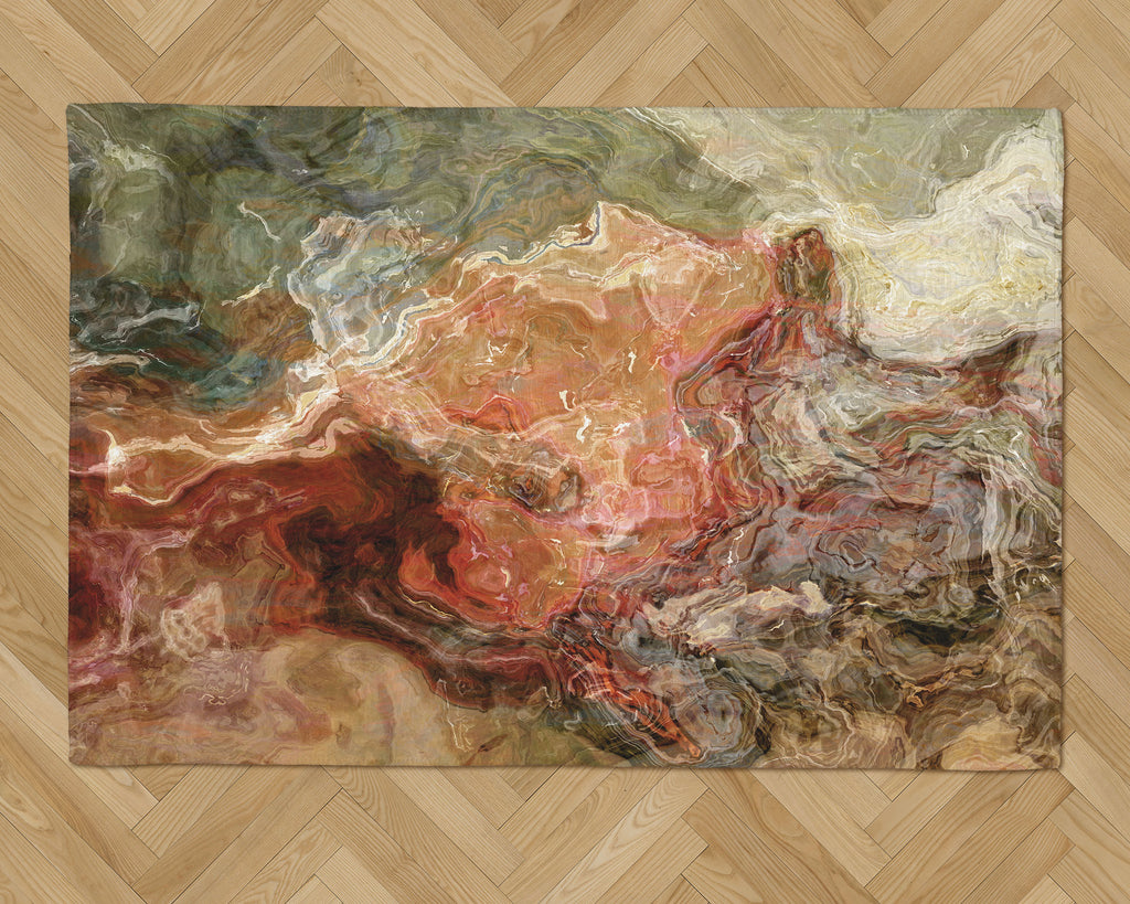 Area Rug with Abstract Art, 2x3 to 5x7, in Rust, Brown and Olive Green