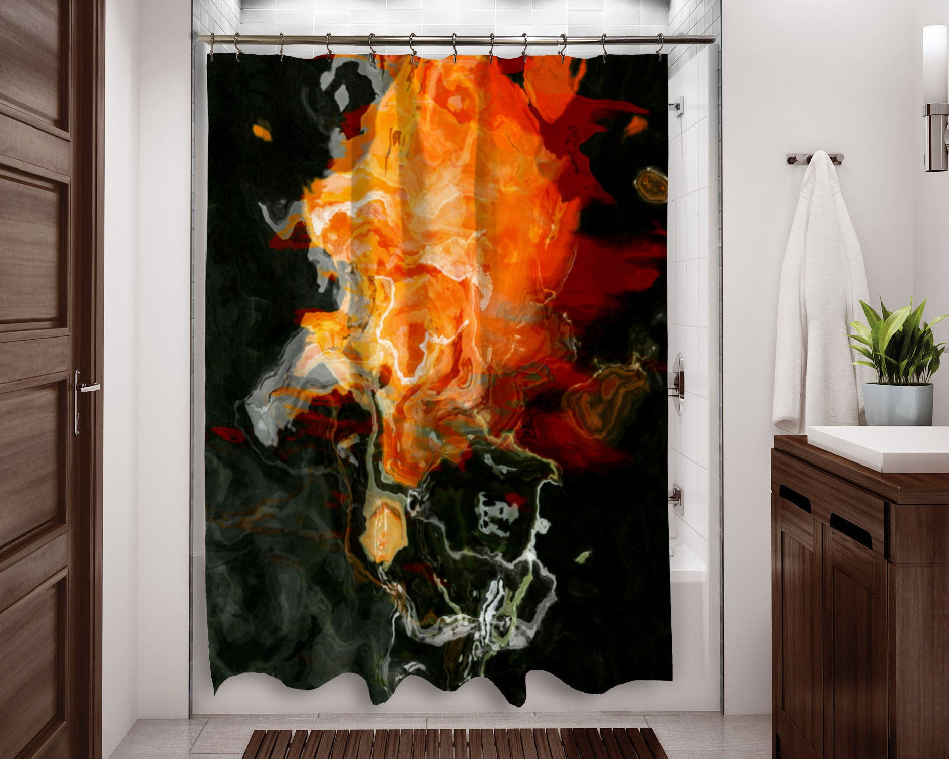 Abstract Art Shower Curtain Black And Orange Bathroom Decor Abstract Art Home