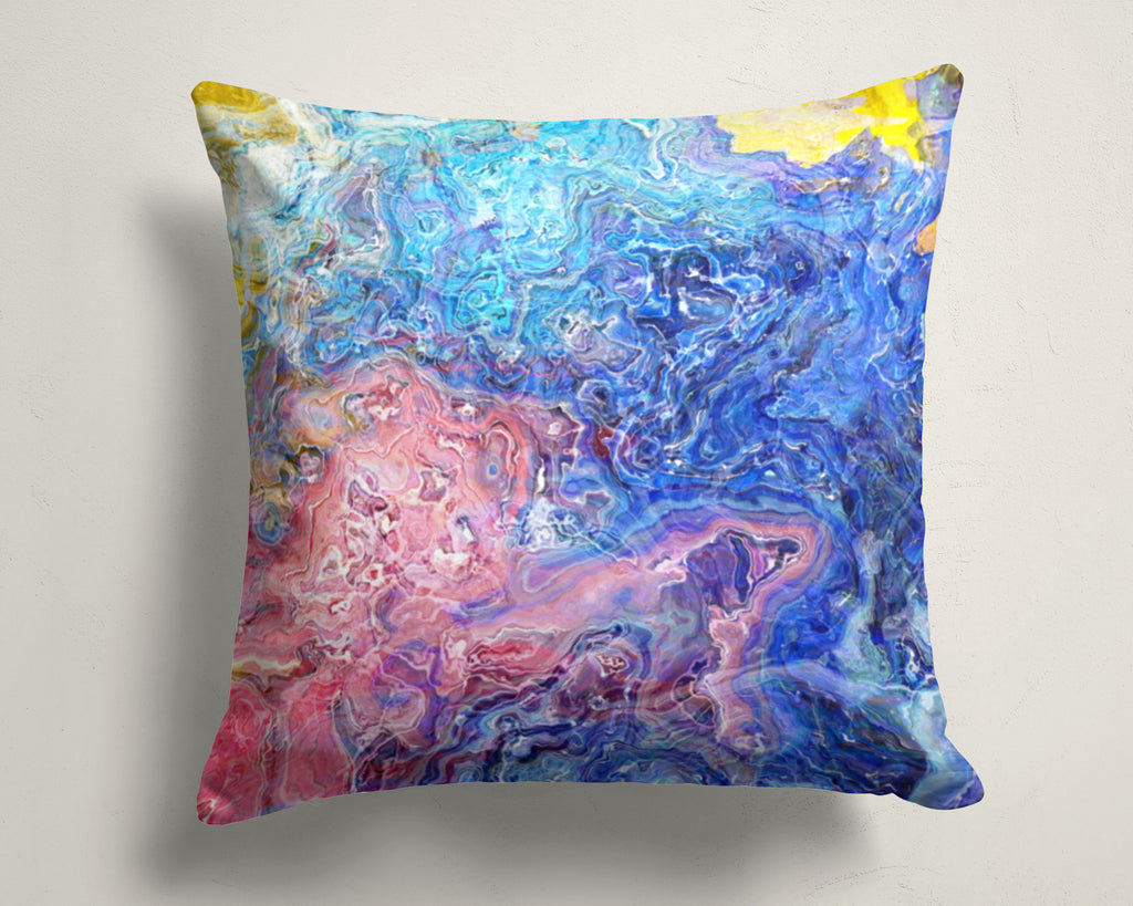 Abstract art pillow covers, 16x16 and 18x18 inches, pink, blue, white