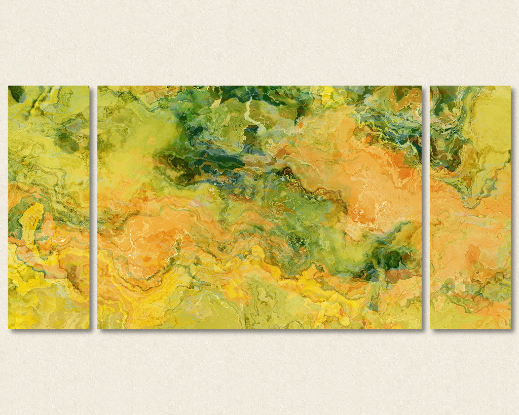 Abstract art triptych canvas print in Peach, Orange, Yellow, Green