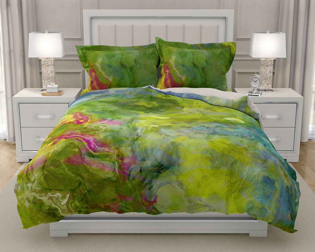 Duvet Cover with abstract art, king or queen in green, aqua and blue