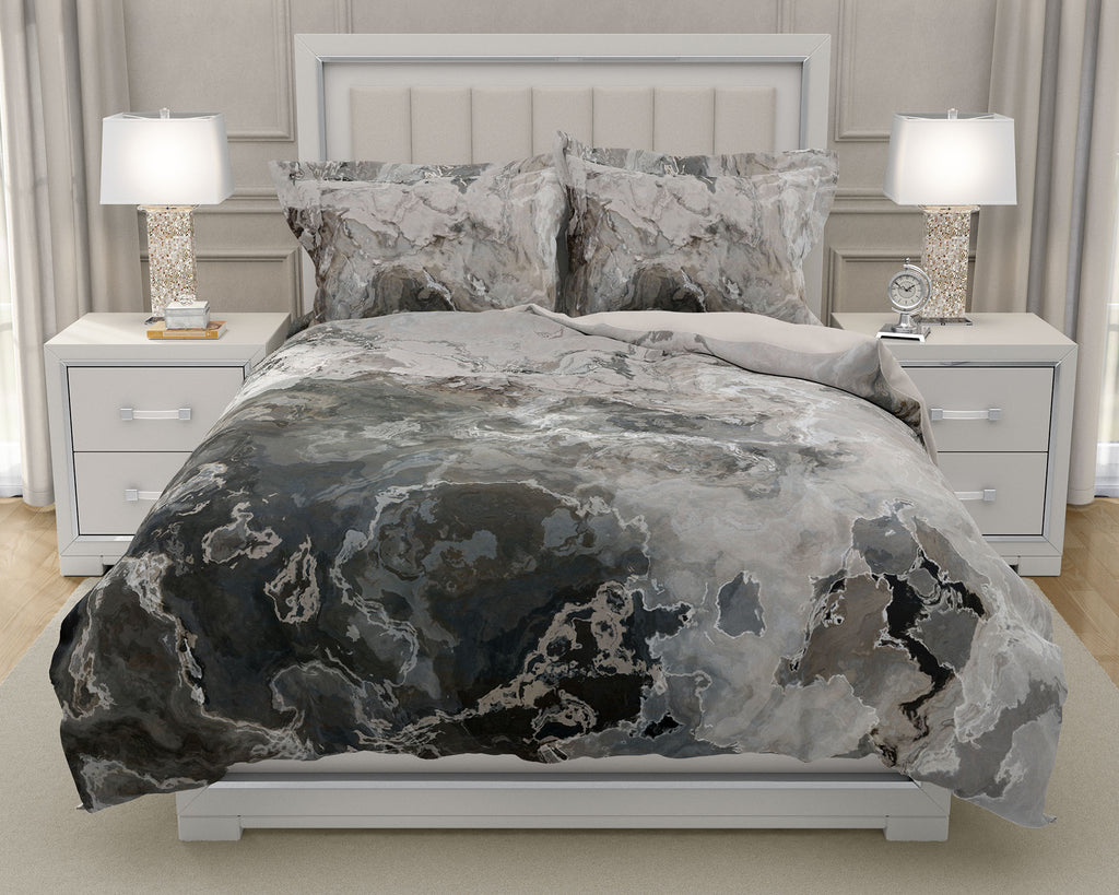 Duvet Cover with abstract art, king or queen, warm gray bedding