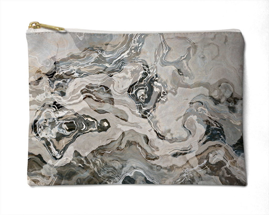 Makeup bag, pencil case, Cosmetic bag with abstract art, in grey, Geologic