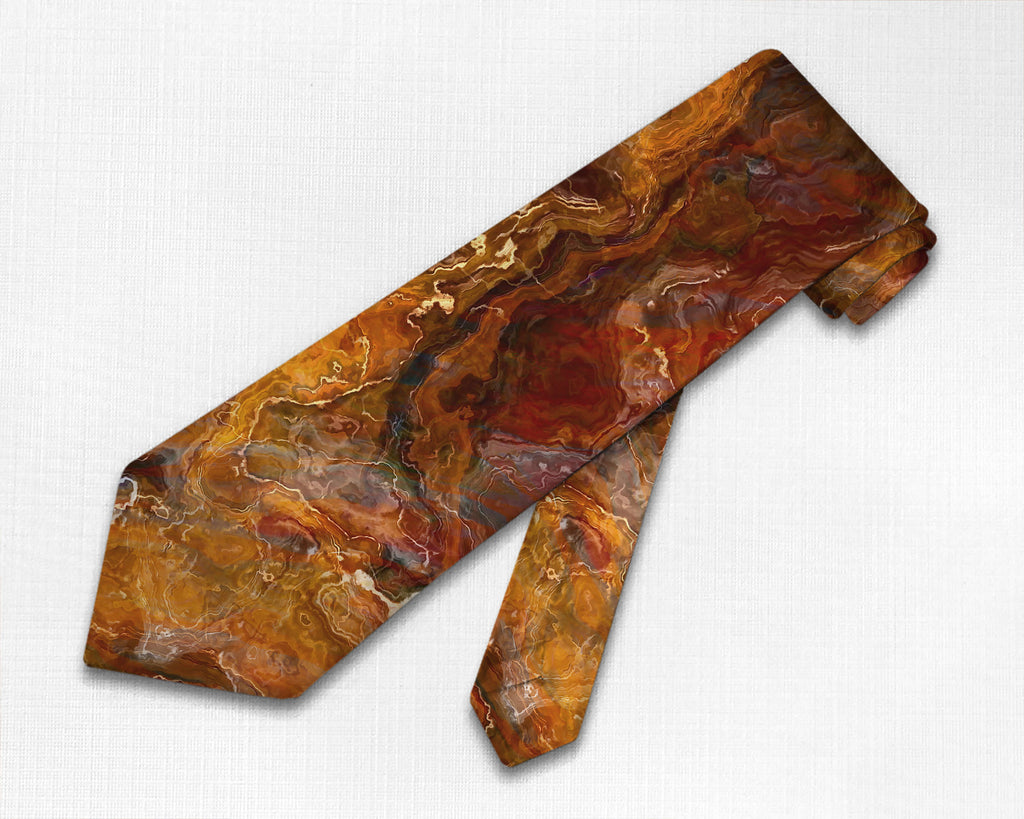 Abstract art men's Southwestern tie in red, orange, brown