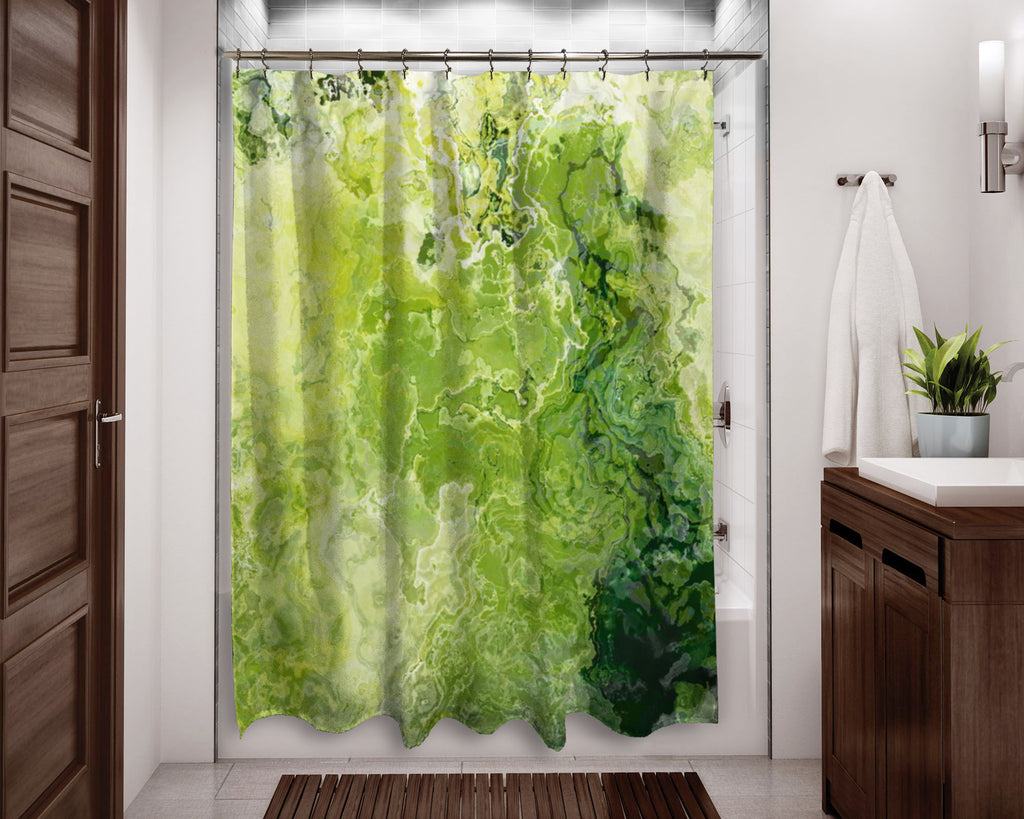 Abstract shower curtain green, and lemon yellow contemporary bathroom