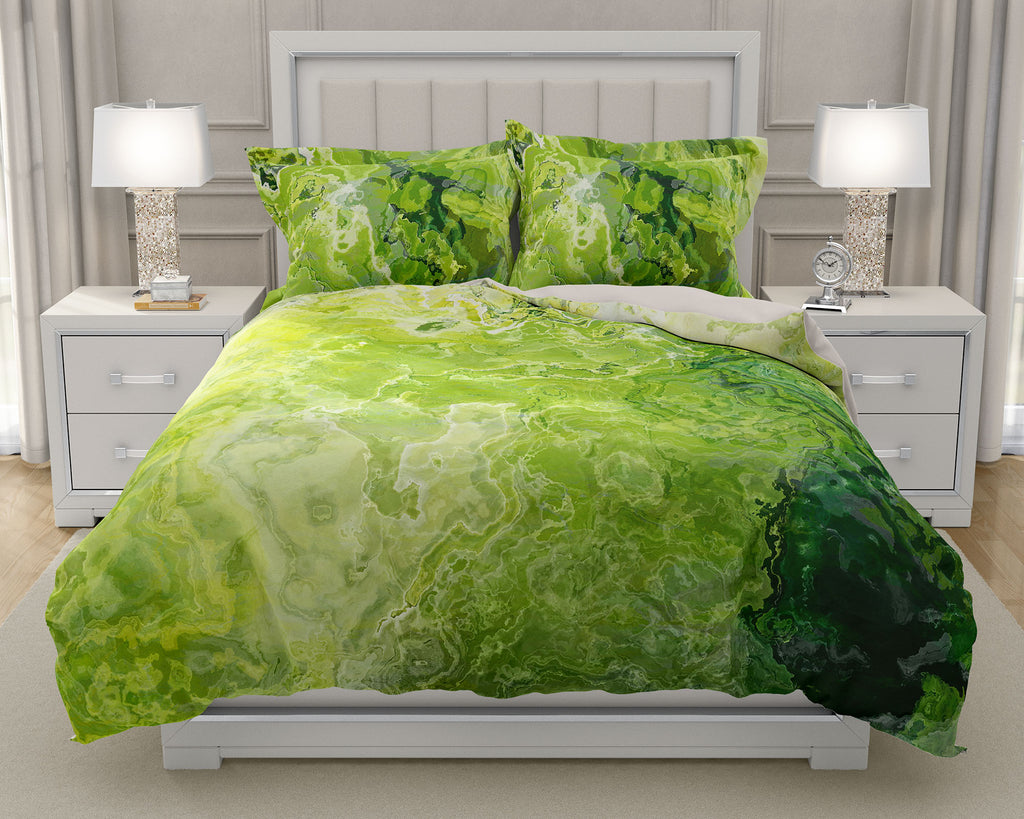 Duvet Cover with abstract art, king or queen in green and lemon yellow