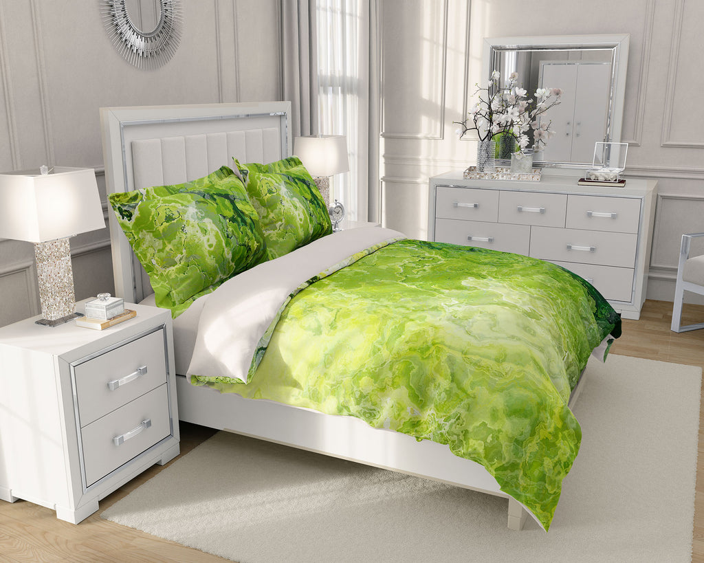 King or Queen Duvet Cover, Green Daze