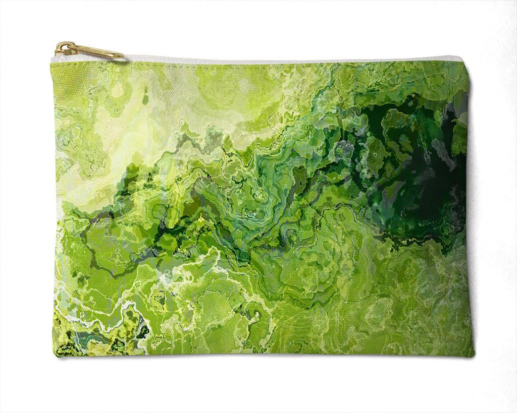 Makeup Bag, Pencil Case, Cosmetic Bag Abstract Art, Green Lemon Yellow