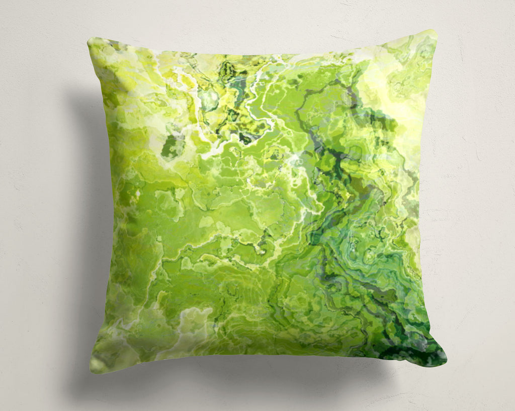 Abstract art pillow covers, 16x16 and 18x18 inches, green and lemon