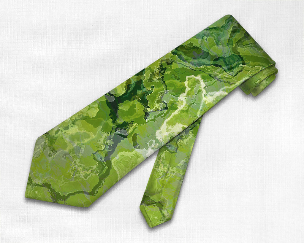 Abstract art men's tie in green and lemon yellow