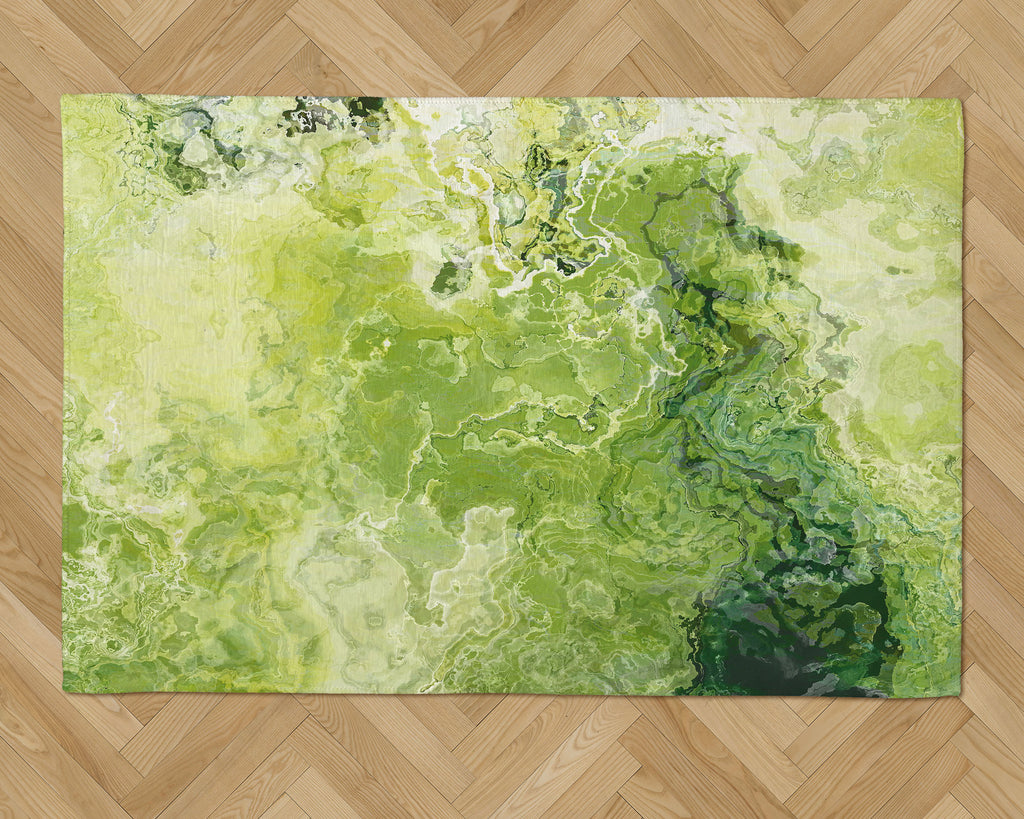 Area Rug with Abstract Art, 2x3 to 5x7, in green and lemon yellow