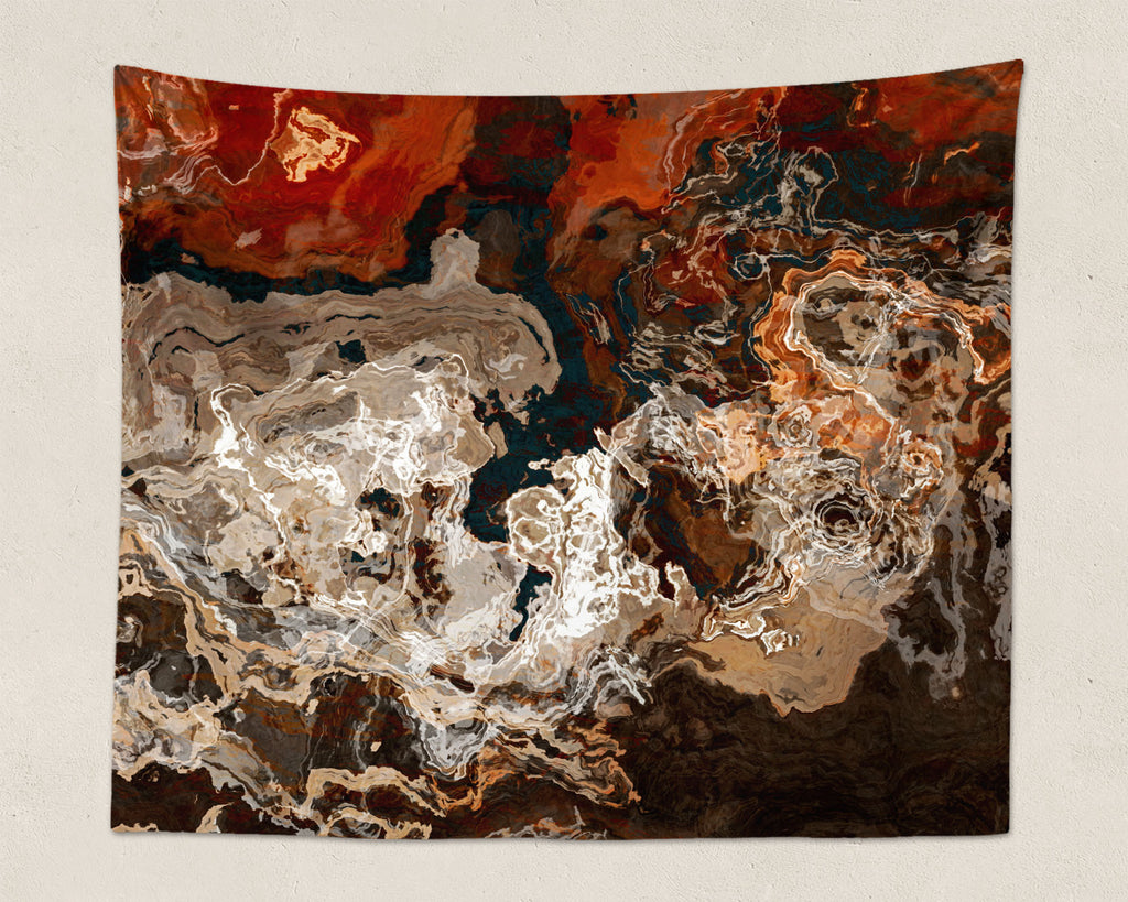 Abstract Art large modern wall hanging in brown, rust and cream