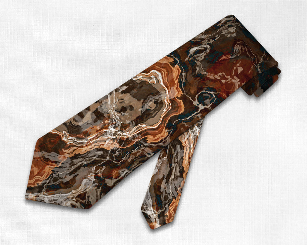Abstract art men's tie in rust and brown