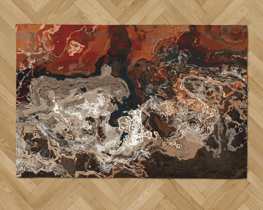 Area Rug with Abstract Art, 2x3 to 5x7, in Brown and Rust