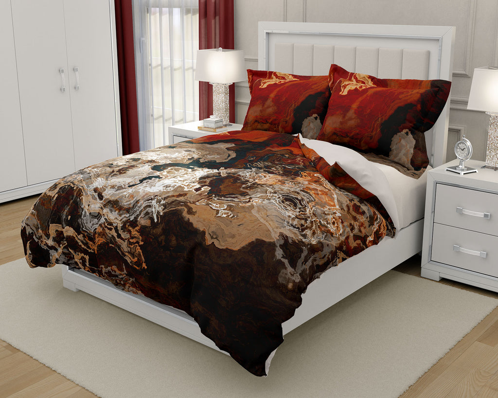 Duvet Cover with abstract art, king or queen in dark red and cream
