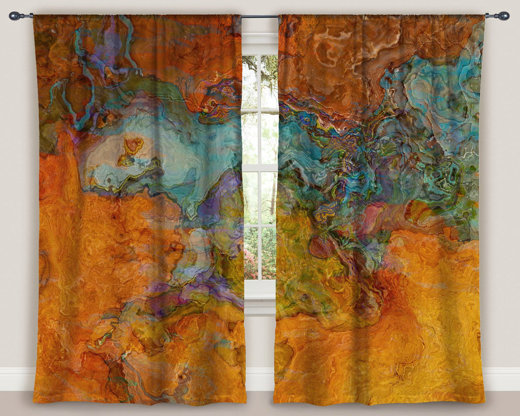 "Abstract art window curtains 50""x84"" panels in southwestern colors"