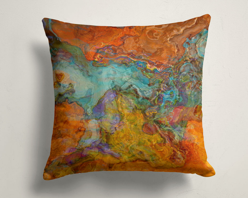 Abstract art pillow covers, 16x16 and 18x18 inches, Southwestern color