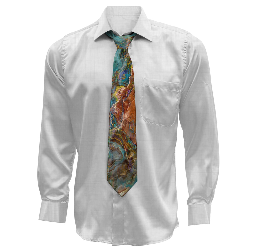 Abstract art men's tie in Brown, Dark Red, Turquoise, Blue