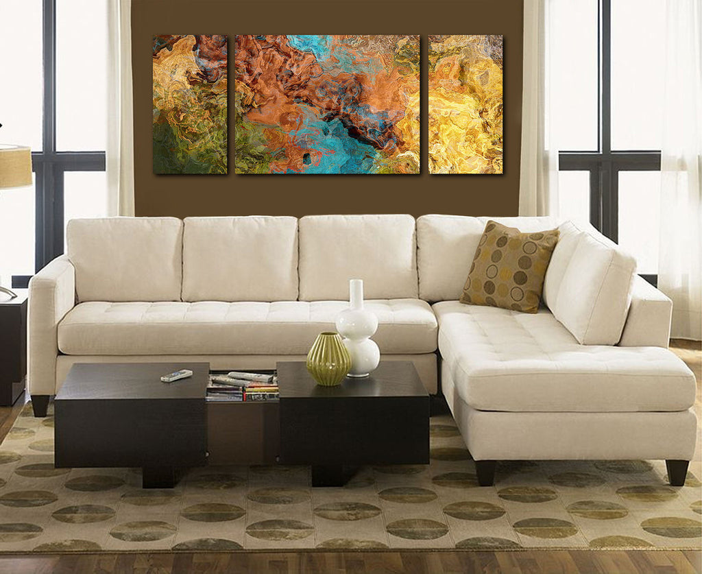 Very large triptych art canvas print brown olive yellow and turquoise in room