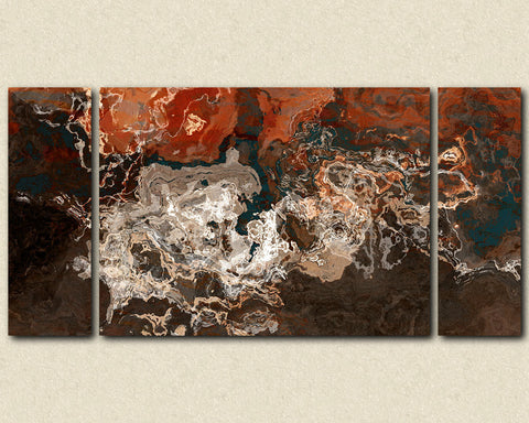 "Oversize abstract expressionism stretched canvas print, 30x60 to 40x78 triptych in earth tones, ""Hammered Copper"""