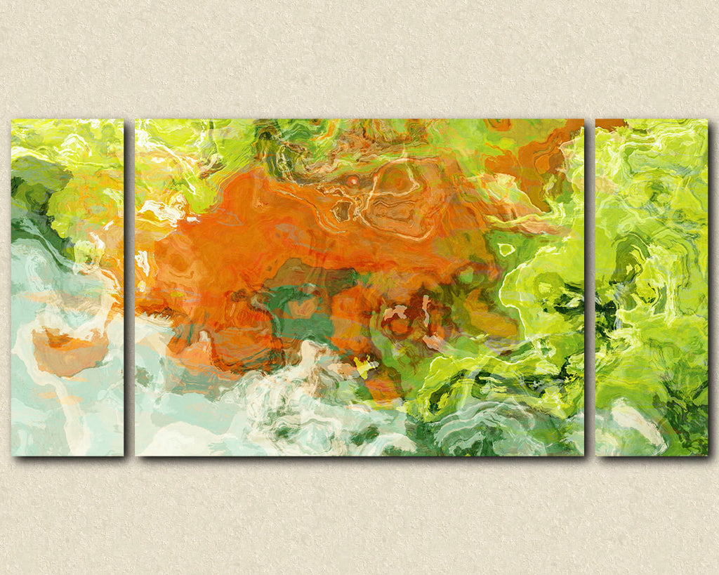 Large triptych art stretched canvas print, abstract expressionism