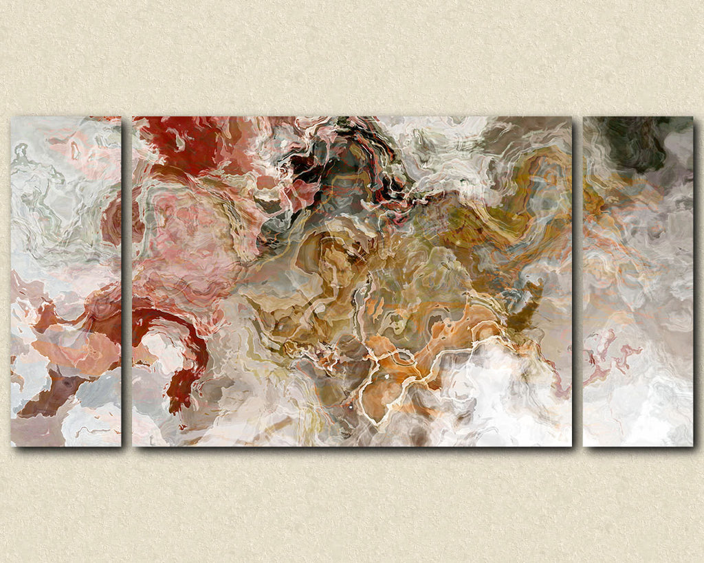 Large abstract expressionism stretched canvas print in autumn colors