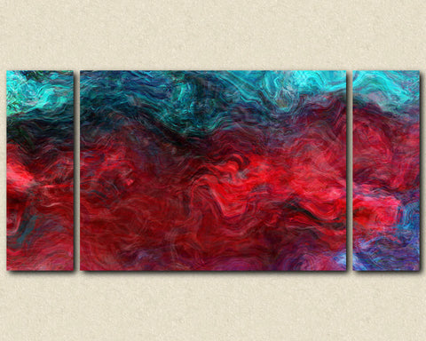 "Large abstract expressionism triptych stretched canvas print, 30x60 to 40x78 in jewel tones, ""Bohemian Rhapsody"""