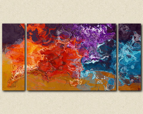 "Large triptych abstract canvas print with gallery wrap, 30x60 to 40x78 in orange, purple and aqua, ""Primary Colors"""