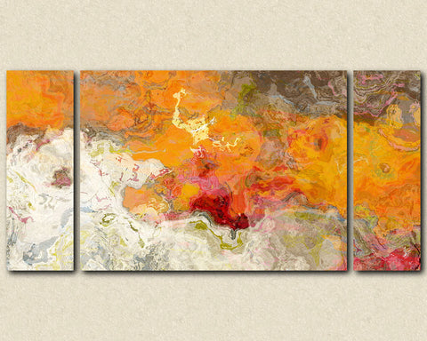 "Abstract expressionism canvas print, 30x60 to 40x78 triptych with gallery wrap in orange and red, ""Summer Love"""