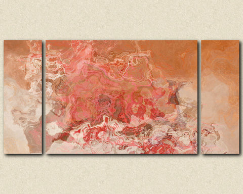 "Oversize Triptych modern art stretched canvas print 30x60 to 40x78 in peach, orange and red, ""Peach Festival"""