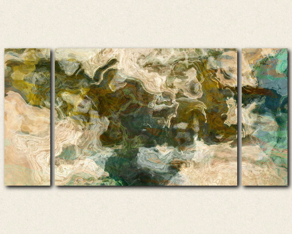 Oversize Triptych modern art canvas print in earthy greens and browns