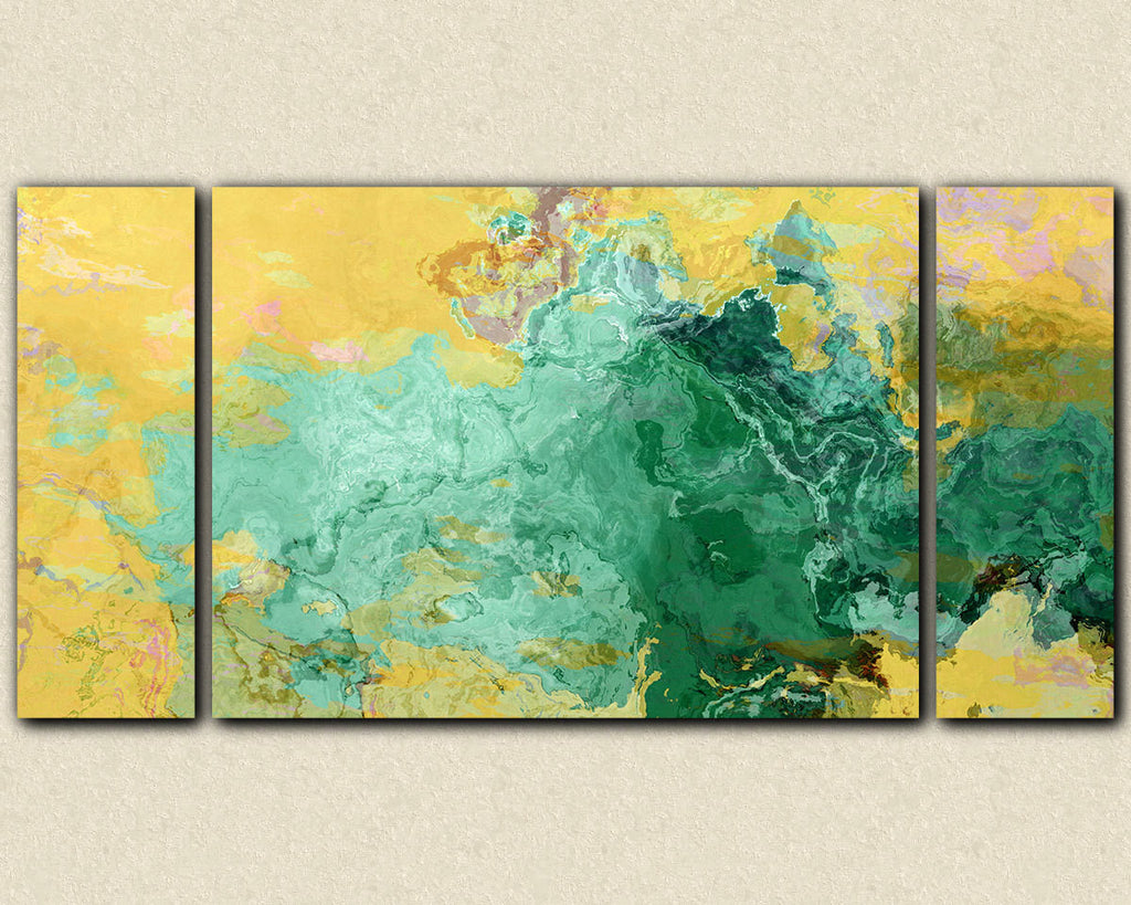 Oversize abstract modern art triptych print in turquoise and yellow