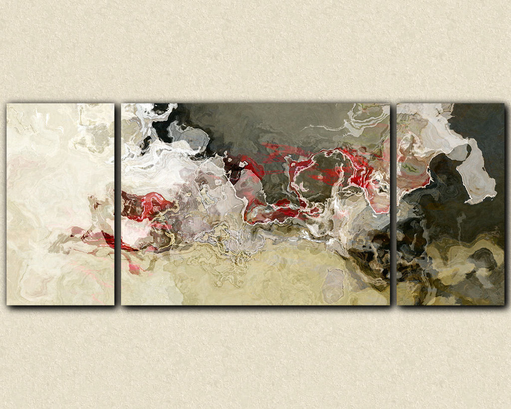 Abstract expressionism triptych canvas print beige gray and red
