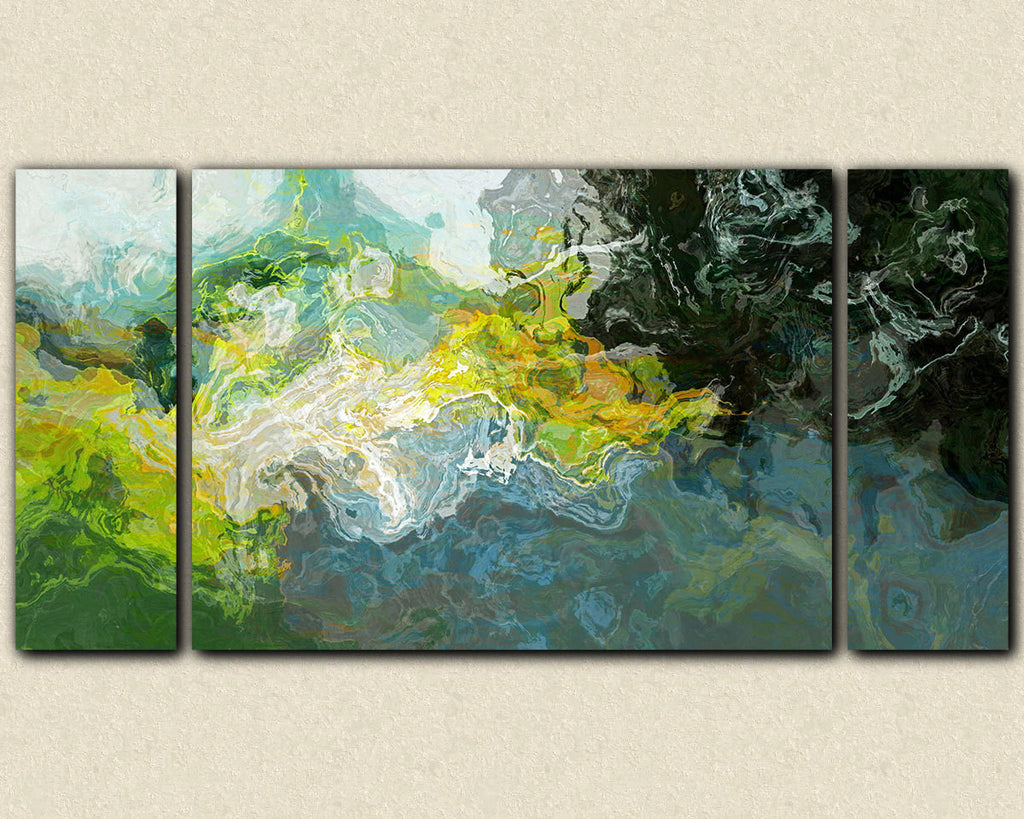 Large triptych abstract canvas print with gallery wrap in blue and green