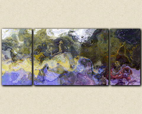 Large triptych abstract art canvas print in purple, green and yellow