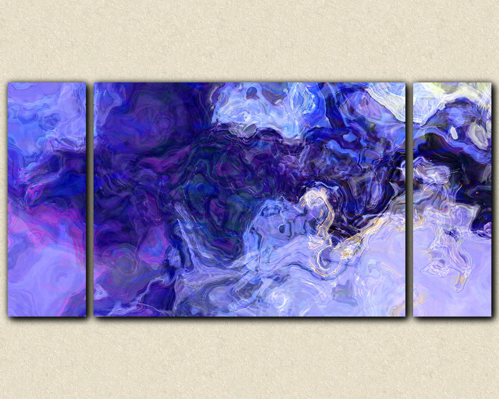 Large contemporary abstract art stretched canvas print blue and purple