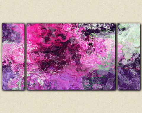 Large triptych abstract canvas print with gallery wrap in purple and hot pink