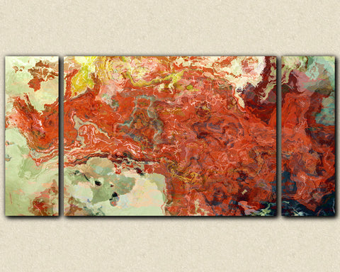 Abstract art triptych gallery wrap giclee large canvas print in red