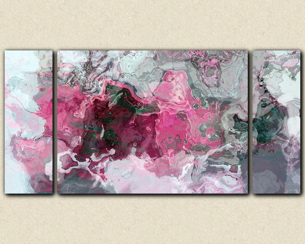 Triptych abstract art canvas print in bright pink white and grey