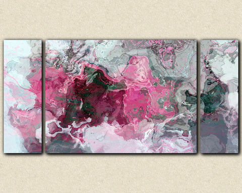 "Triptych abstract art 30x60 to 40x78 stretched canvas print, in bright pink, white and grey, ""Raspberry Flambe"""