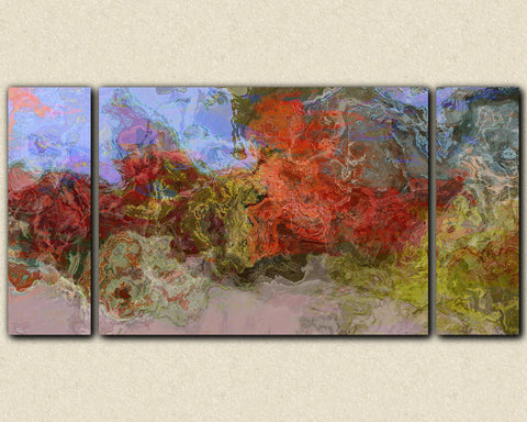"Oversize triptych stretched canvas print, 30x60 to 40x78 abstract art in earthy red, blue and green, ""Burning River"""