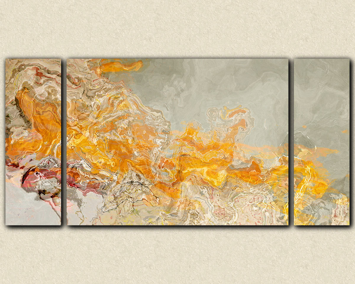 Large triptych abstract canvas print with gallery wrap in orange and ...