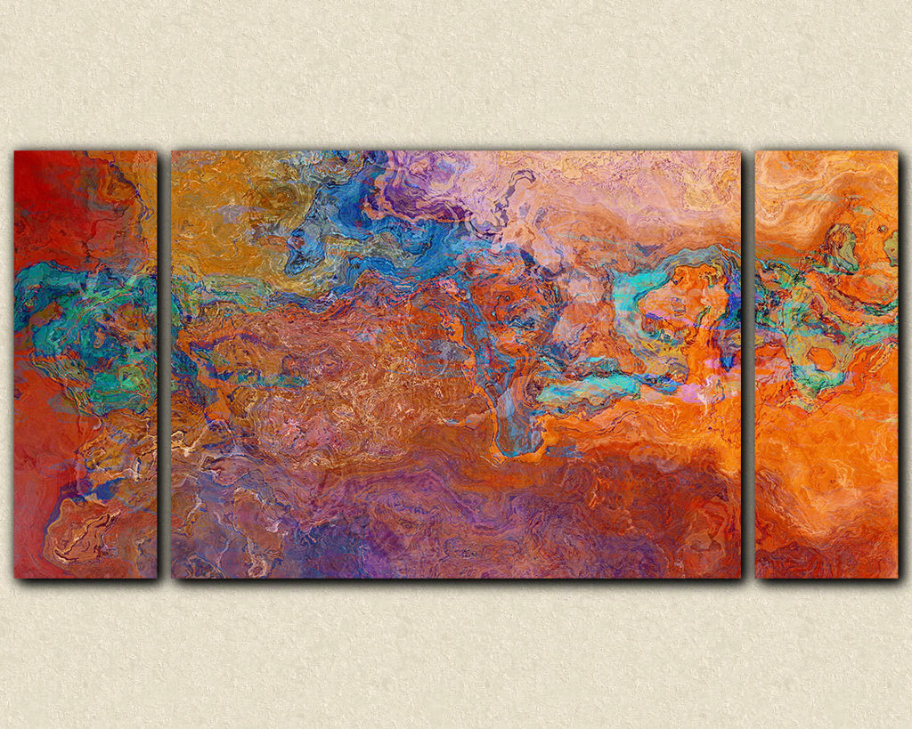 Large contemporary triptych canvas print in rust, copper and turquoise