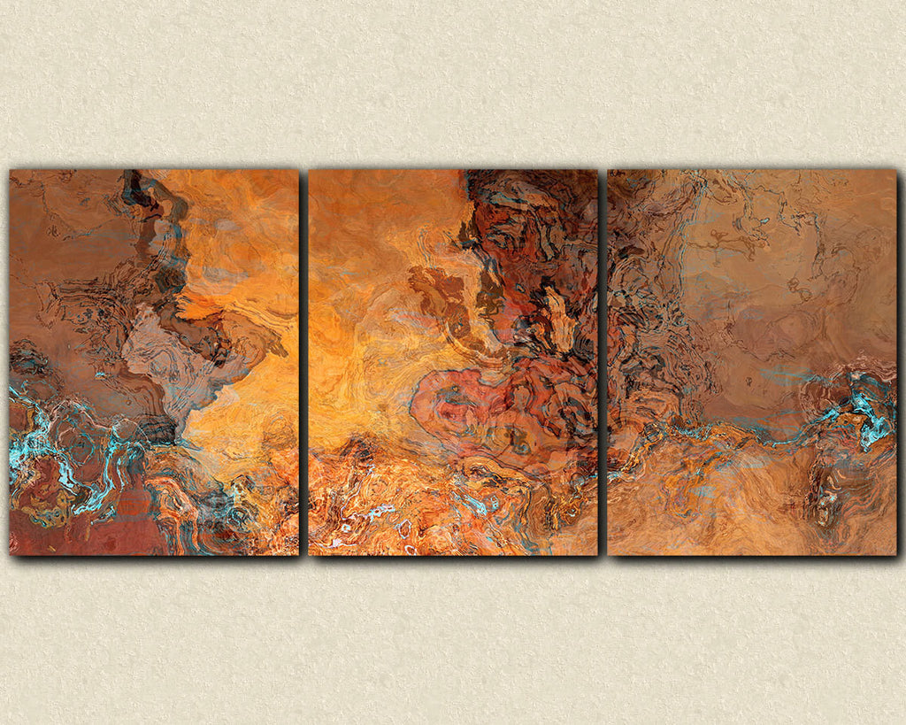 Oversize abstract art triptych canvas print in southwest desert colors