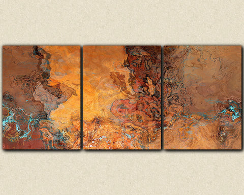 "Oversize abstract art, 40x90 triptych canvas print, in southwest desert colors of red-orange, rust, brown, yellow and turquoise,""Tucson Tapestry"""